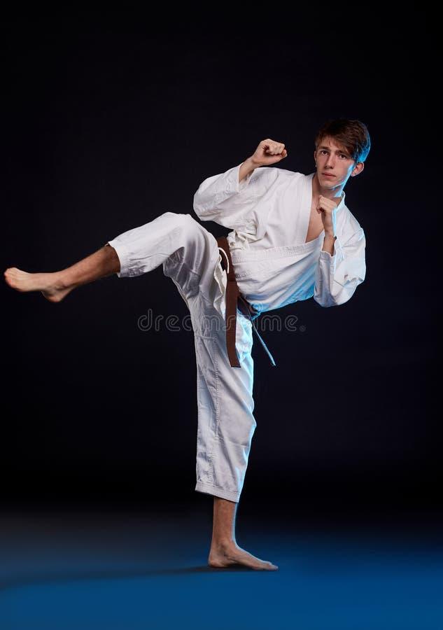 Karatepojke i kimonot som poserar i studion begrepp isolerad sportwhite arkivfoton