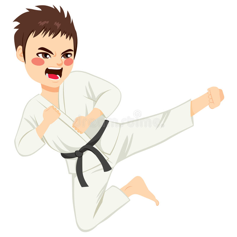 Karatepojken hoppar stock illustrationer