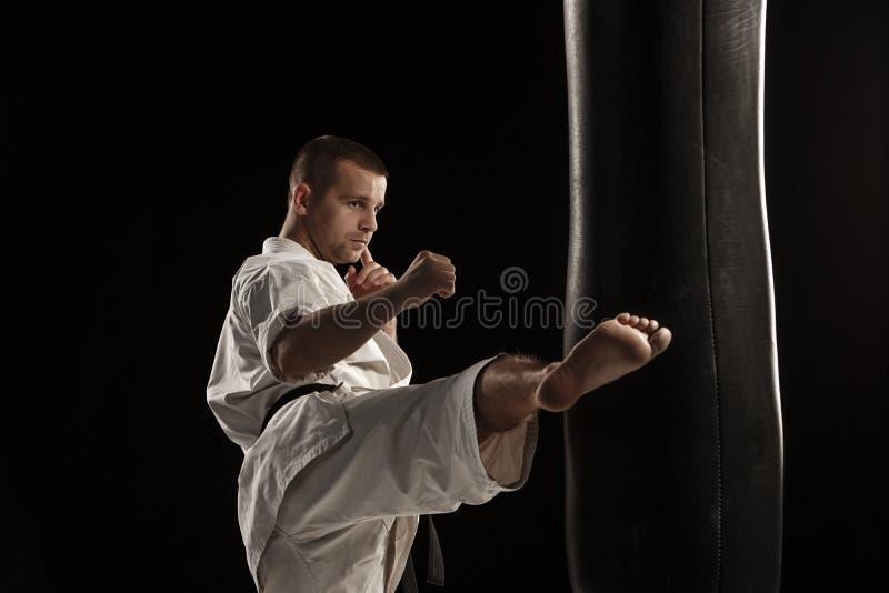Karaterundan sparkar in en stansa påse arkivfoto