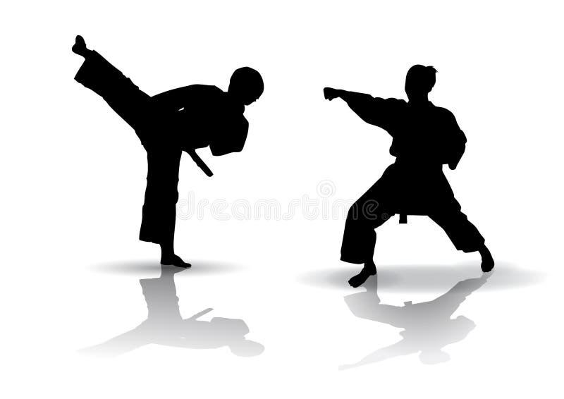karatesilhouette vektor illustrationer