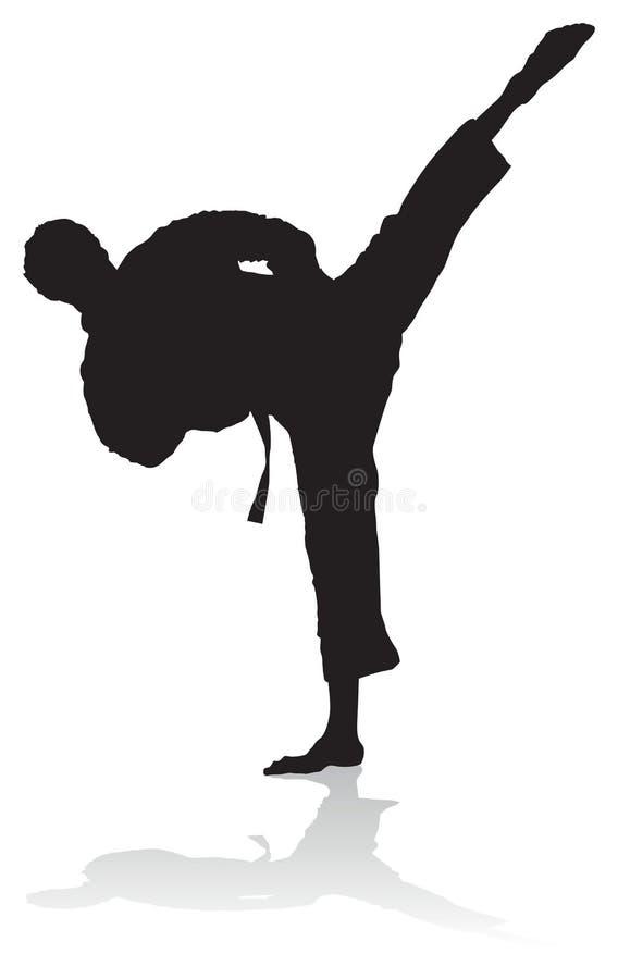 Karatesilhouette royaltyfri illustrationer