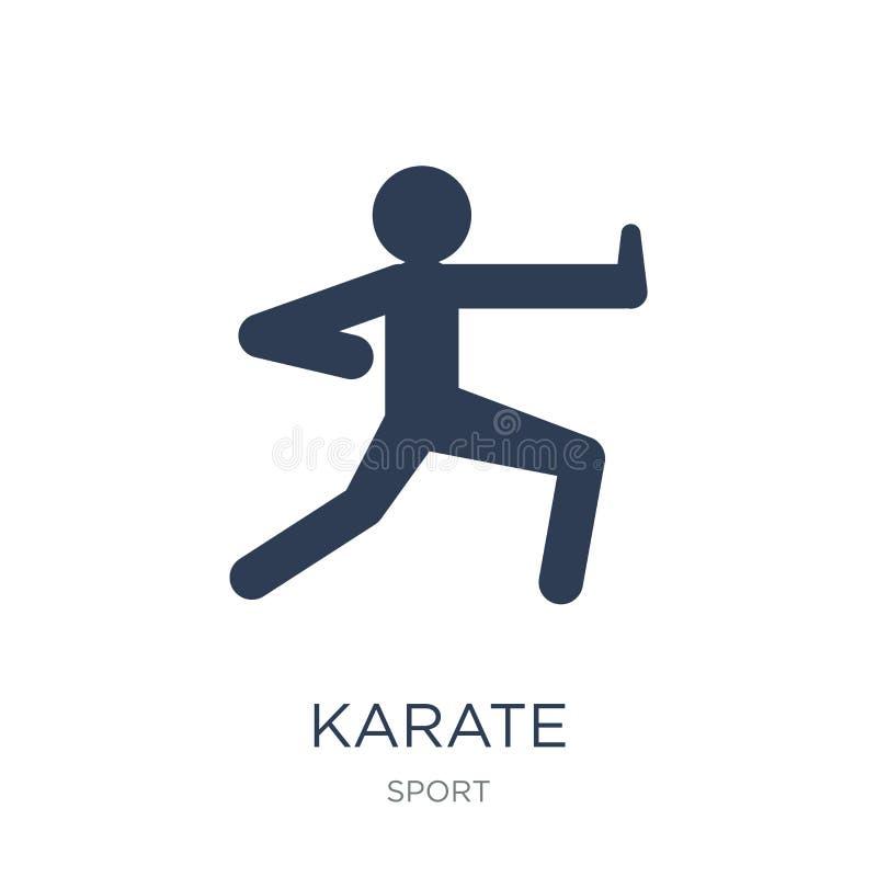 Karatesymbol Moderiktig plan vektorkaratesymbol på vit bakgrund stock illustrationer