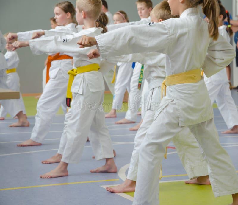Karateutbildning Ungar av olika åldrar övar krigs- flyttningar arkivbilder