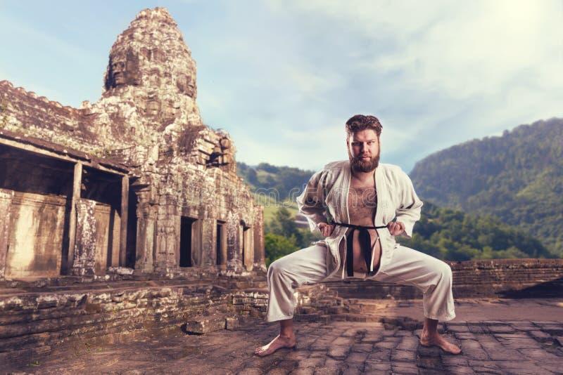 Karatevechter in karatehouding stock afbeelding
