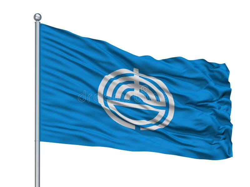 Karatsu-Stadt-Flagge auf Fahnenmast, Japan, Saga-Präfektur, lokalisiert auf weißem Hintergrund stock abbildung