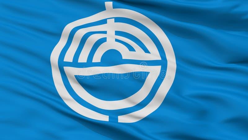 Karatsu-Stadt-Flagge, Japan, Saga-Präfektur, Nahaufnahme-Ansicht lizenzfreie abbildung