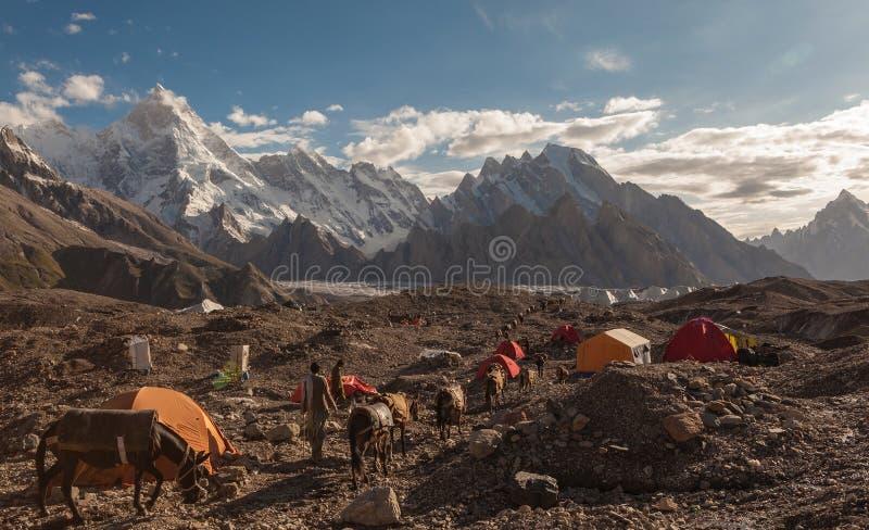 Karawana osły chodzi przepustkę kolorowi campingowi namioty zdjęcia stock
