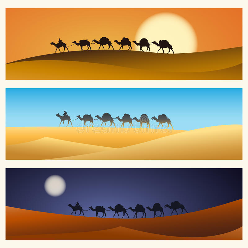 Karawana wielbłądy w pustyni royalty ilustracja