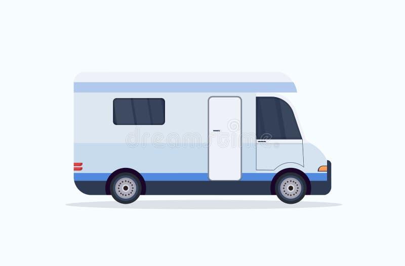Karawanowego samochodowego ikony podróży pojazdu rekreacyjnego campingowego pojęcia płaski horyzontalny biały tło ilustracja wektor