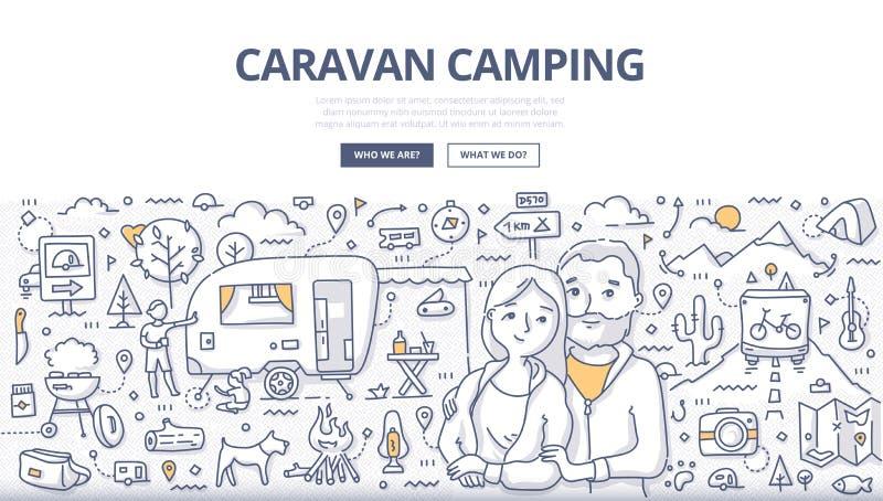 Karawanowy campingu Doodle pojęcie ilustracja wektor