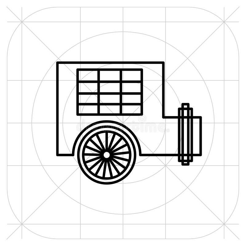 Karawanowy przyczepa domu ikony wektor, wypełniający mieszkanie znak, stały piktogram odizolowywający na białym tle ilustracja wektor
