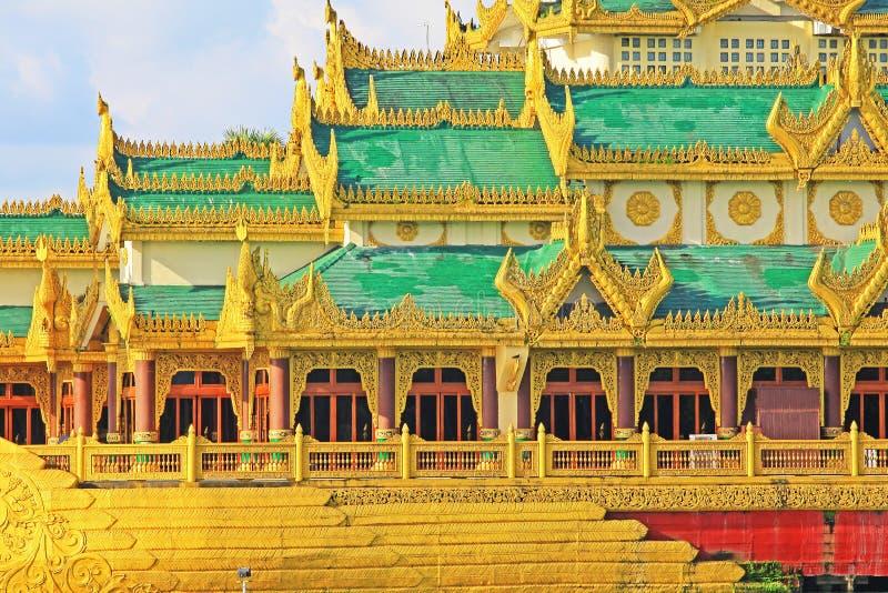 Karaweik霍尔,仰光,缅甸 免版税库存照片