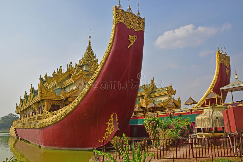 Karaweik Palace at the eastern shore of Kandawgyi Lake, Yangon, Burma. It was built in the form of Royal Barge and designed by Burmese architect U Ngwe Hlaing royalty free stock photography