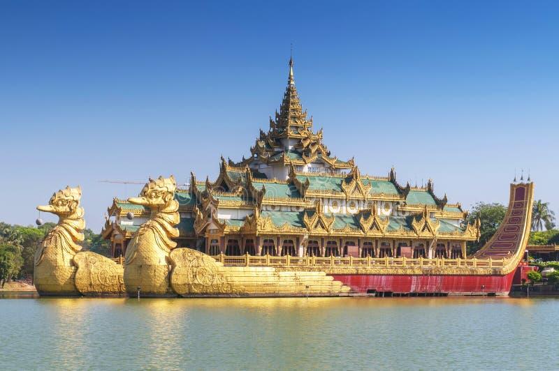 Karaweik Palace in Kandawgyi Royal Lake, Yangon, Myanmar.  royalty free stock photo