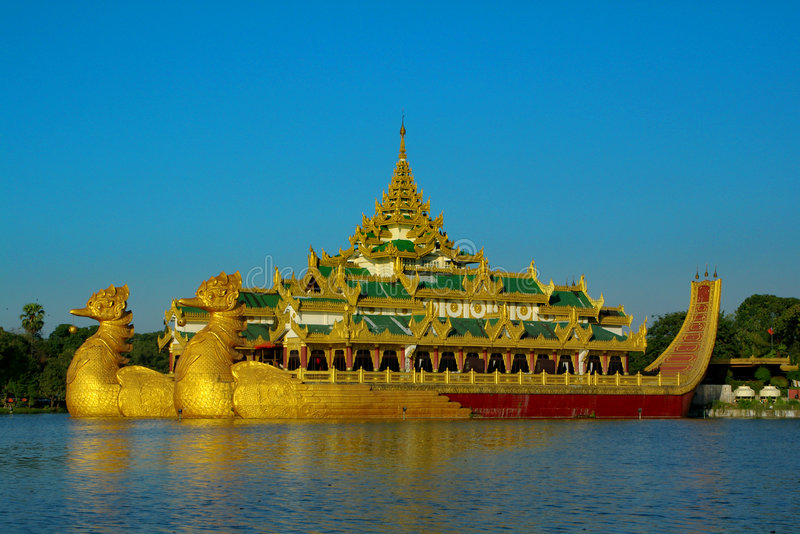 Karaweik palace in Yangon, Myanmar stock photo