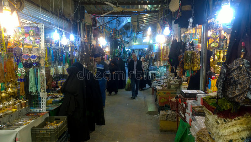 Karbala city markets. Which sell specialized tools Prayer And other materials that are used in religious matters royalty free stock photo
