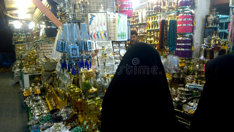 Karbala city markets. Which sell specialized tools Prayer And other materials that are used in religious matters stock photography
