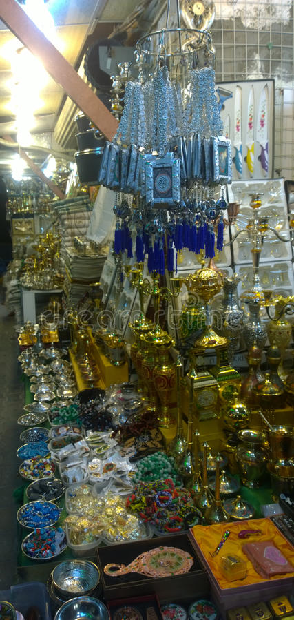 Karbala city markets. Which sell specialized tools Prayer And other materials that are used in religious matters royalty free stock photography