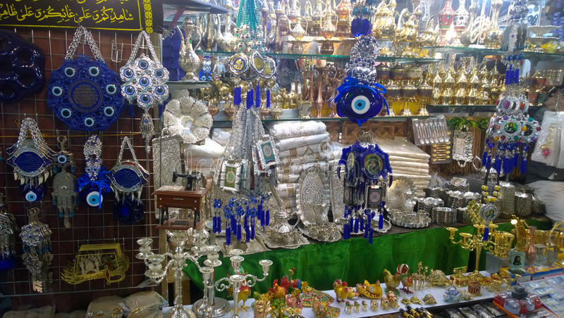 Karbala city markets. Which sell specialized tools Prayer And other materials that are used in religious matters royalty free stock image