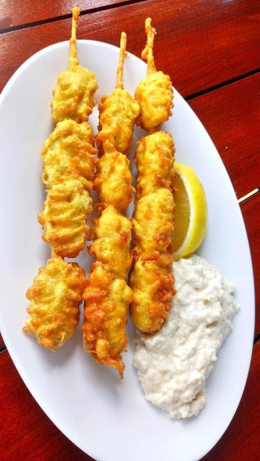 Karbonade Fried Mussels/Midye Tava Traditioneel snel voedsel stock afbeeldingen