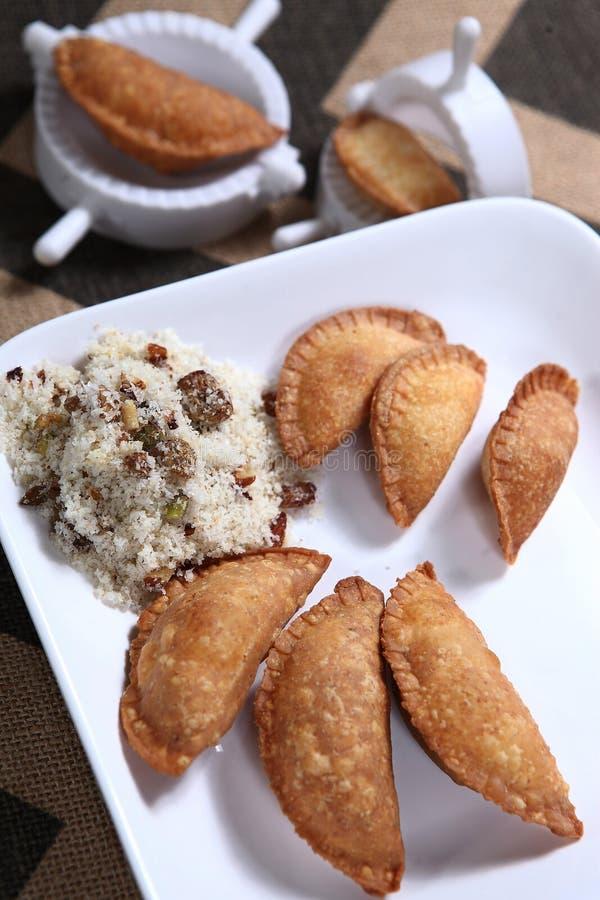 Karchikai, Kajjikayalu, Karanji, Flaky Pastry With Dry Sweet Filling royalty free stock image