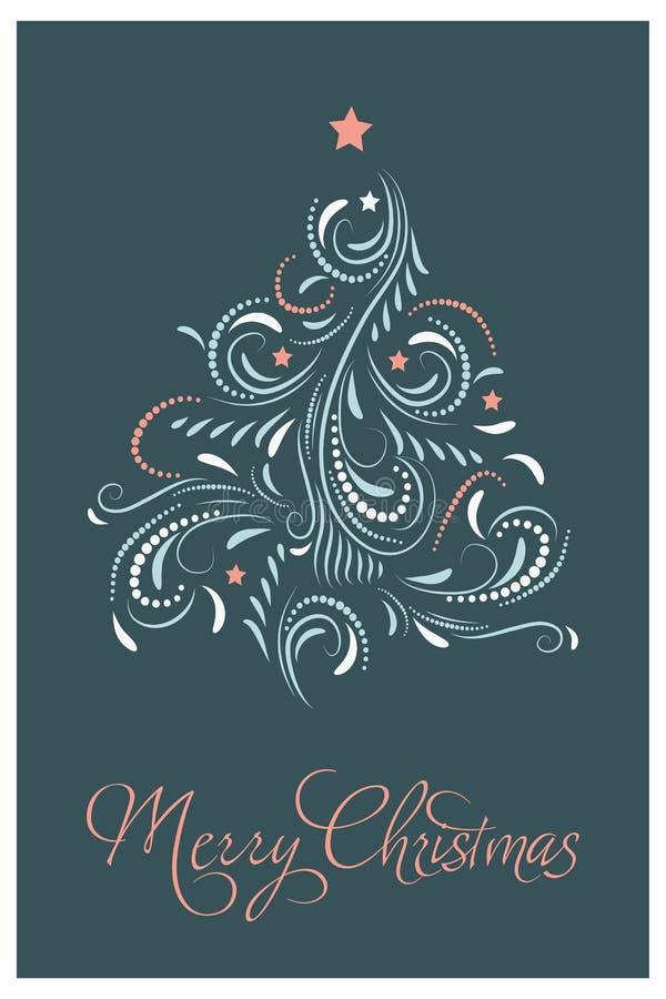 karciana bożych narodzeń projekta płatków śniegów miś pluszowy zabawka wesołych Świąt Ręka rysująca wektorowa ilustracja royalty ilustracja