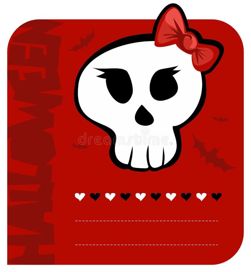 karciana dziewczyny powitania Halloween czaszka royalty ilustracja