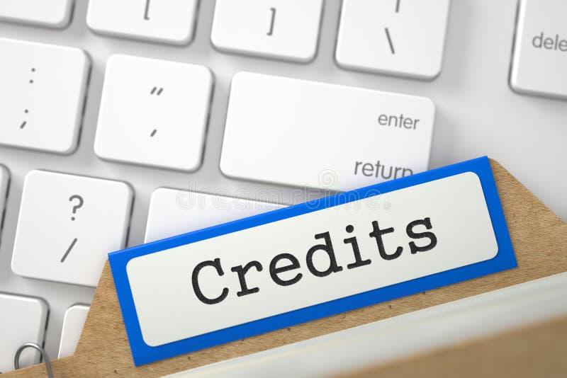 Karciana kartoteka z Wpisowymi kredytami 3d zdjęcie stock