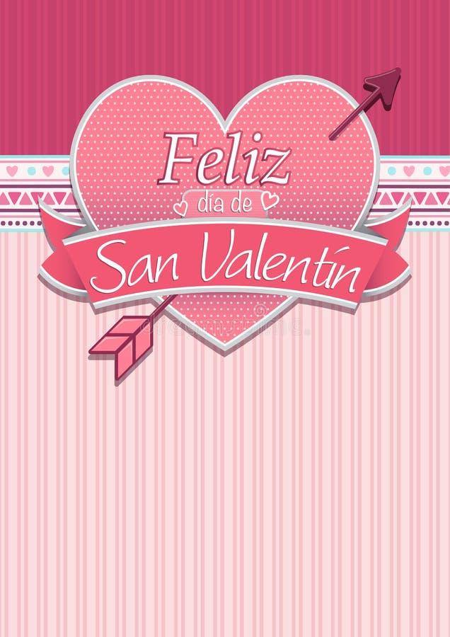Karciana pokrywa z wiadomością: Feliz Dia De San Valentin - Szczęśliwy walentynka dzień w Hiszpańskim języku ilustracji