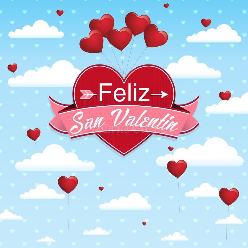 Karciana pokrywa z wiadomością: Feliz San Valentin - Szczęśliwy walentynka dzień w Hiszpańskim języku na czerwonym sercu otaczają ilustracji