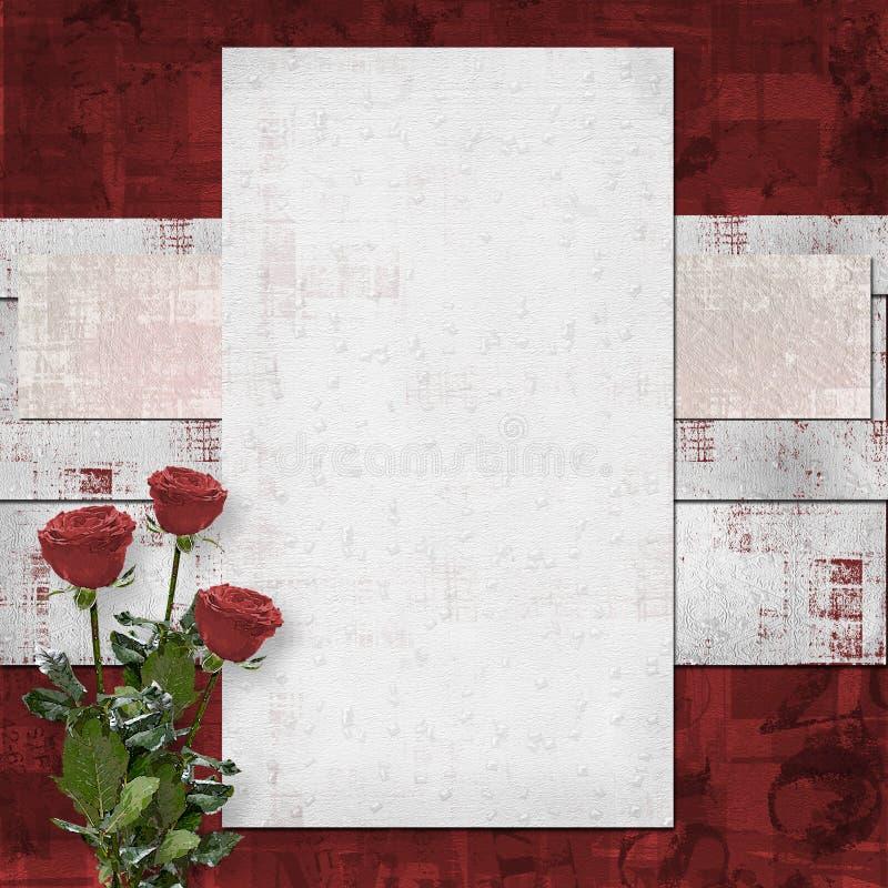 karciane zaproszenie karciane róże royalty ilustracja