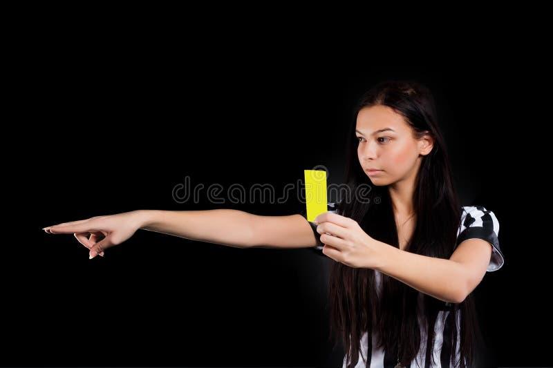 karcianego arbitra seksowny piłki nożnej kolor żółty obrazy stock