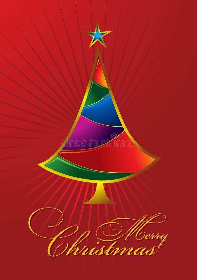 karcianego bożych narodzeń kolorowego powitania wesoło drzewo royalty ilustracja