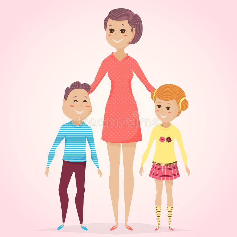 karcianego dzień szczęśliwa matka s Matka z synem i córka w kreskówce projektujemy royalty ilustracja