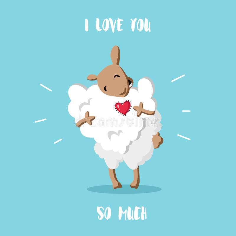 karcianego dzień szczęśliwi serca target283_0_ s dwa valentine Śmieszni cakle z chmurą w formie serca Mieszkanie styl bardzo cię  ilustracji