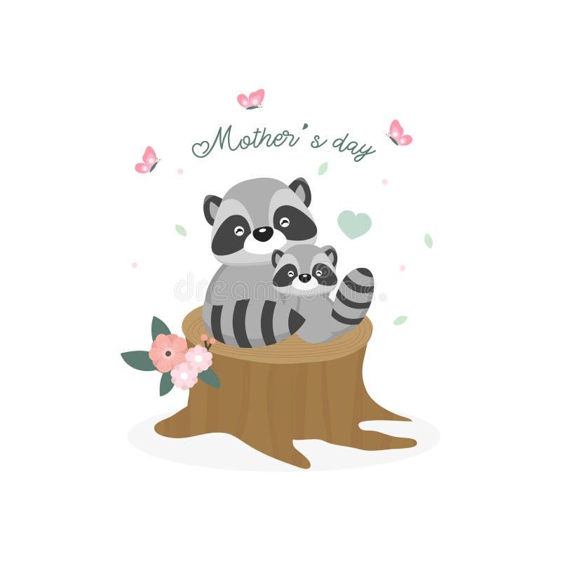 karcianego dzie? szcz??liwa matka s Macierzysty szopowy przytulenie jej dziecko ilustracja wektor