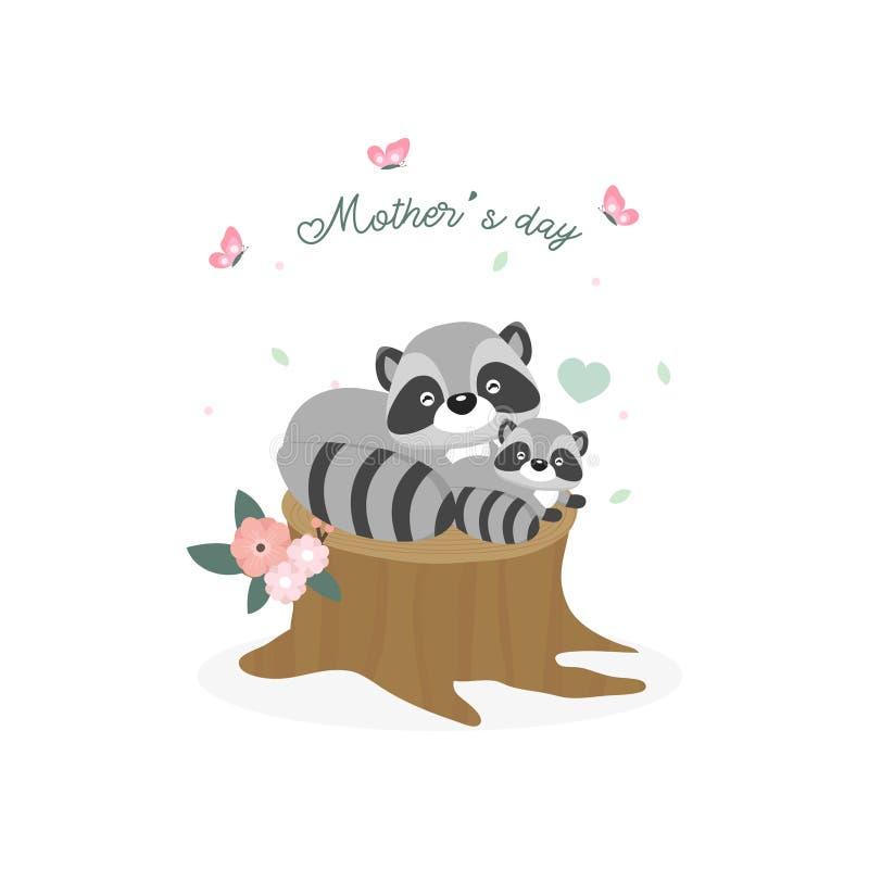 karcianego dzie? szcz??liwa matka s Macierzysty szopowy przytulenie jej dziecko ilustracji