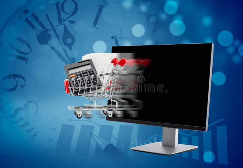 karcianego handlu komputerowy pojęcia kredyt e wręcza klawiaturę komputer z wózek na zakupy chodzeniem ilustracji