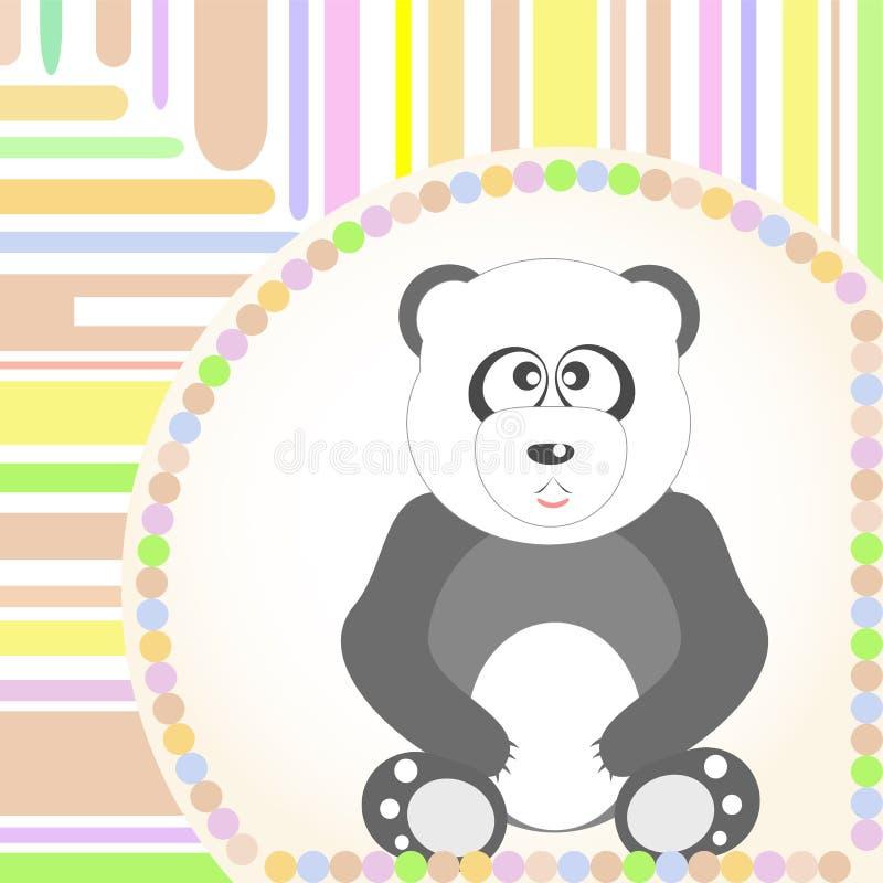 karcianego powitań pandy obsiadania uśmiechnięty wektor ilustracji