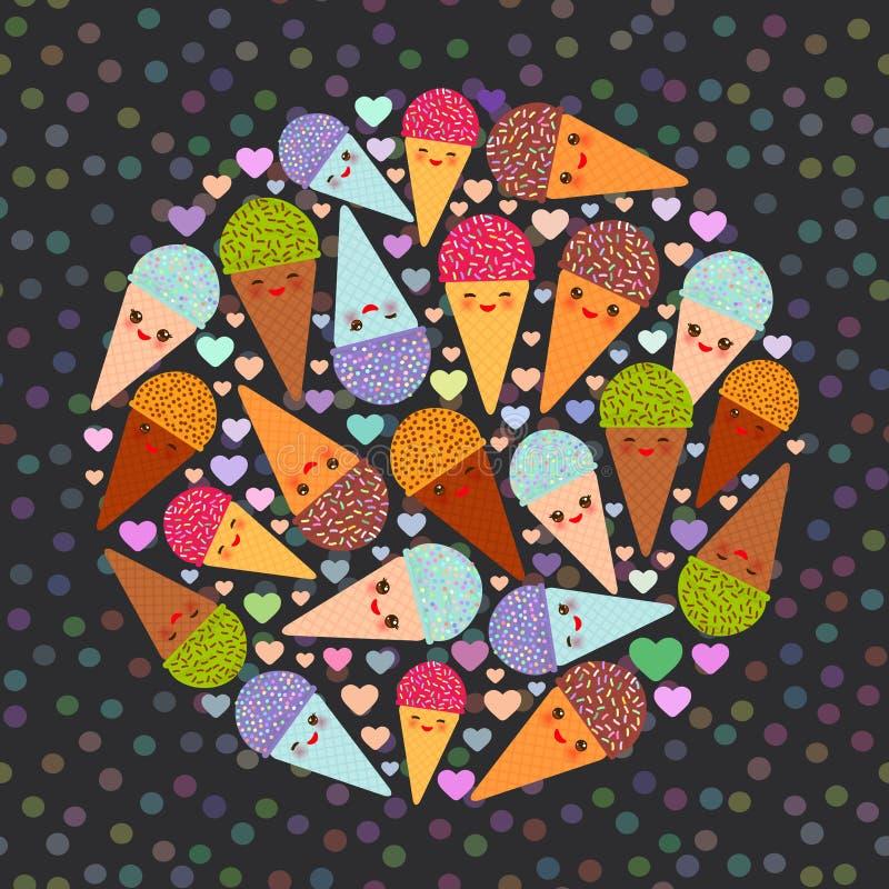 Karcianego projekta okrąg z trzy Kawaii lody gofra nowego malinowego czekoladowego rożka śmiesznym kaganem z różowymi policzkami  ilustracja wektor