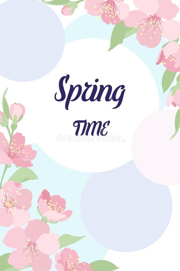 Karcianego szablonów kątów wystroju Sakura czereśniowi kwiaty ilustracji