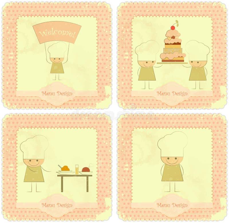 karcianego szef kuchni projektów dzieciaków menu ustalony rocznik ilustracja wektor
