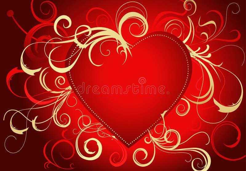 karcianego złocistego powitania czerwony s valentine royalty ilustracja