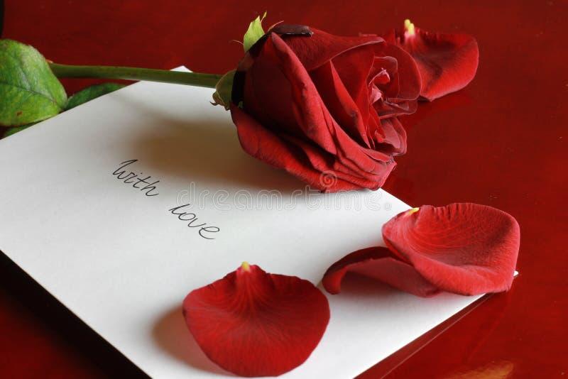 karcianej dzień projekta dreamstime zieleni kierowa ilustracja s stylizował valentine wektor Rewolucjonistki róża z listem miłosn zdjęcia royalty free