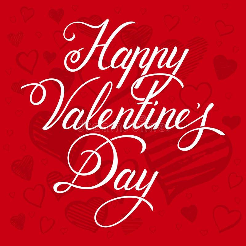 karcianej dzień projekta dreamstime zieleni kierowa ilustracja s stylizował valentine wektor Szczęśliwa ręka rysujący walentynki  royalty ilustracja