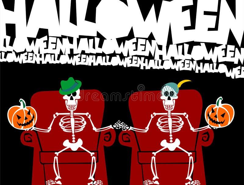 karcianej pary śmieszny Halloween kościec royalty ilustracja