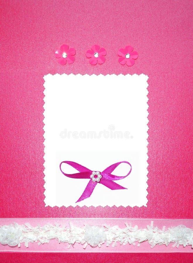 karcianej ramy zaproszenia papieru fotografii menchii ślub obraz stock