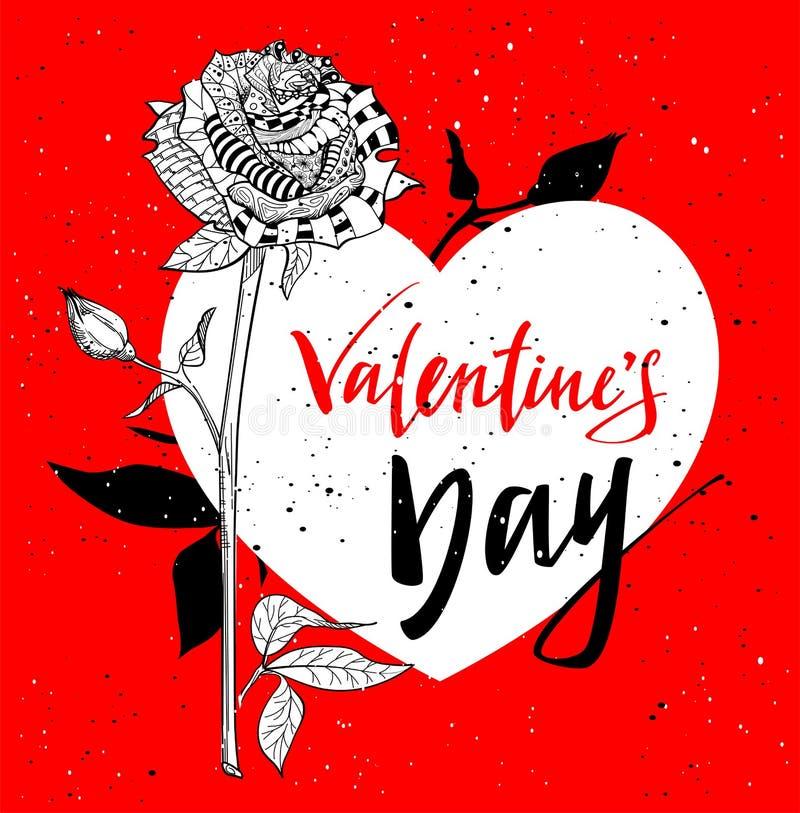 karciani dzień powitania valentines Abstrakta róży kwiat royalty ilustracja