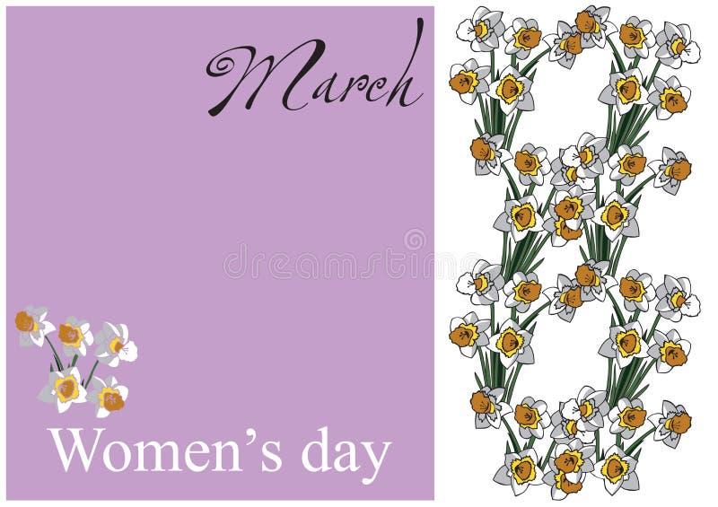 Karciani kobieta dnia kwiaty royalty ilustracja