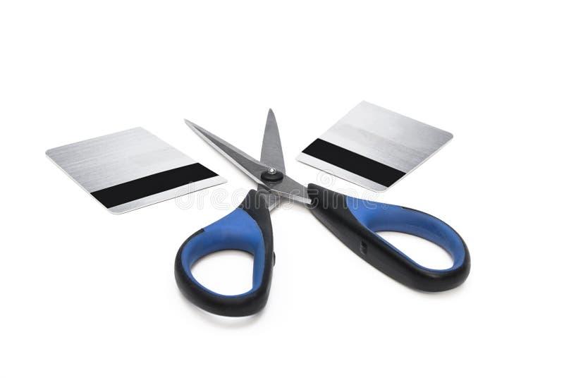 karciani kredytowi tnący nożyce obrazy stock